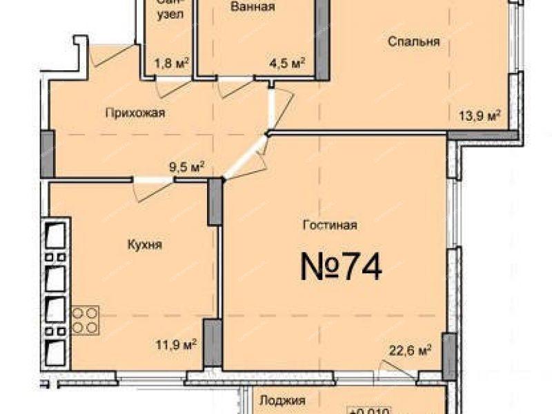 двухкомнатная квартира в новостройке на проспекте Кораблестроителей