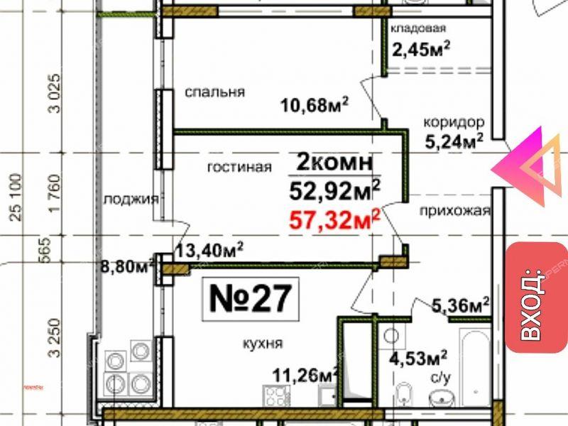 двухкомнатная квартира в новостройке в границах улиц Лобачевского, Коммуны, Циолковского,  дом №6